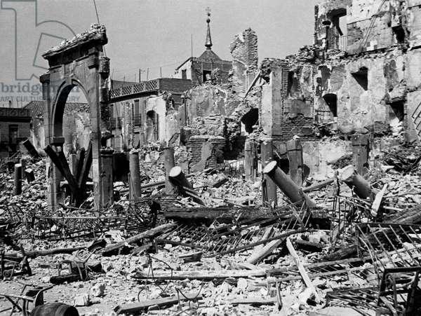 Damaged buildings during a war, Spanish Civil War, Toledo, Spain, 1939
