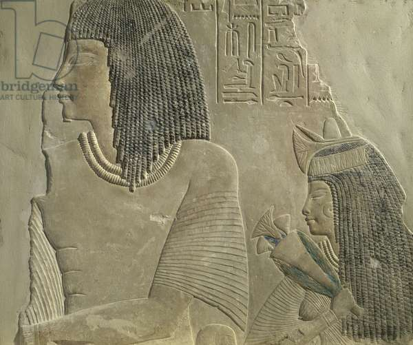Relief depicting Imenmes and Dejat, the parents of General Imeneminet, from a tomb in Memphis, New Kingdom, c.1336-1295 BC (painted limestone)