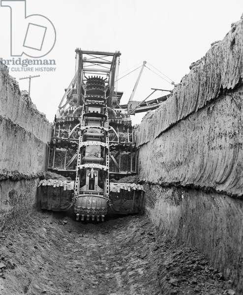 Ditch digger at a construction site