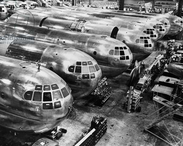 Incomplete airplanes on the final assembly line in an airplane factory, Seattle, Washington State, USA