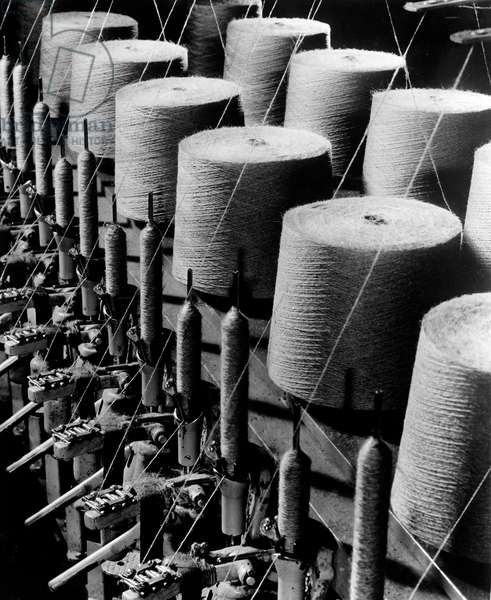 Spools of thread in textile factory