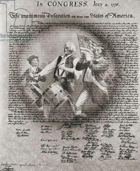 Archibald M. Willard's Spirit of '76 superimposed on Declaration of Independence