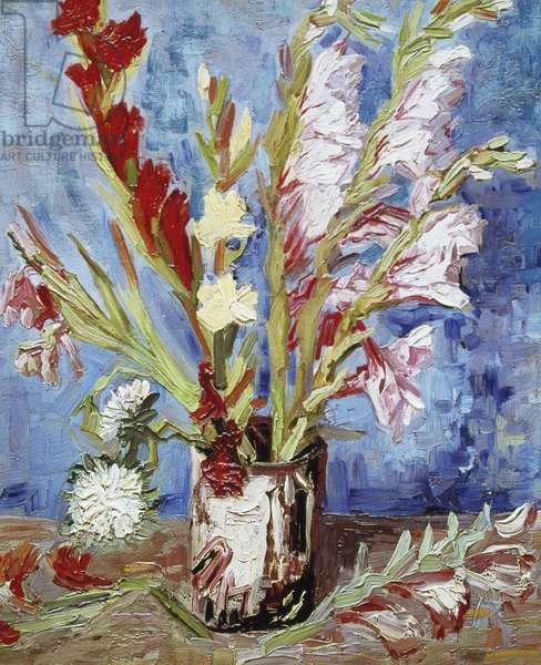 Vase with Gladioli (oil on canvas)