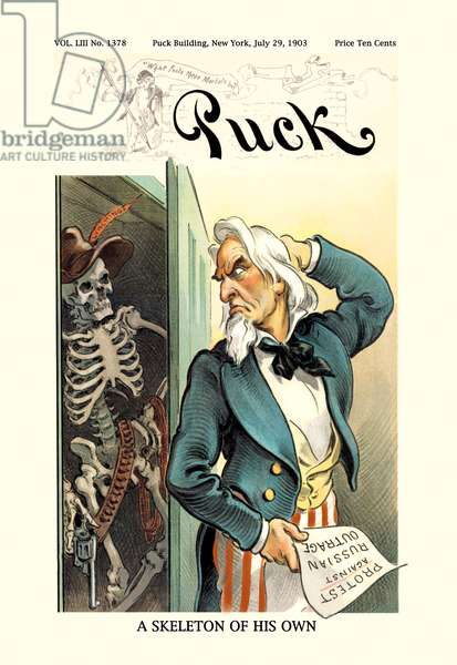 Puck Magazine: A Skeleton of His Own, Uncle Sam