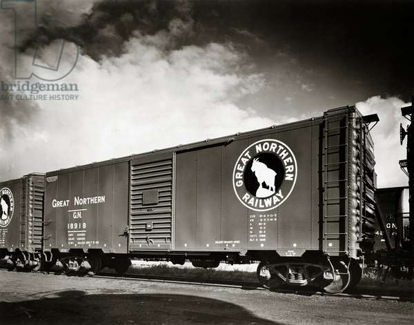 USA, Great Northern Railway Freight train on railway track