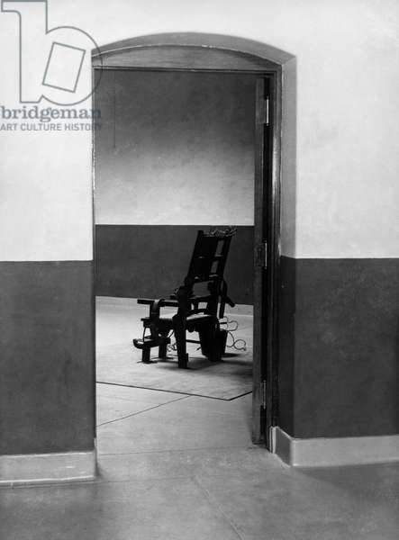 Electric chair in a prison cell