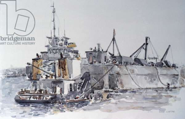 Dredging for Naval Port, Staten, 1987, Anthony Butera, (b.20th C.), Watercolor
