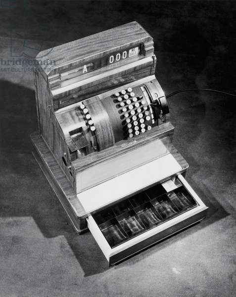 High angle view of an empty cash register