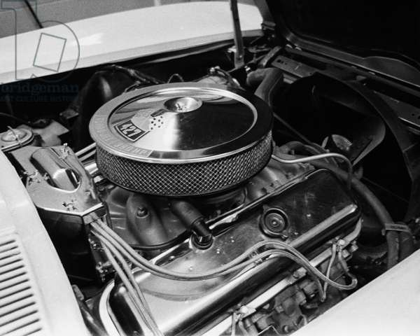 Close-up of the engine of a car