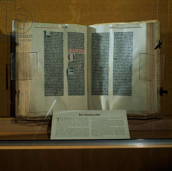 The Gutenberg Bible 1456 Manuscript Library of Congress, Washington D.C., USA (photo)