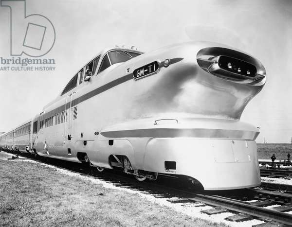 Aero train on a railroad track