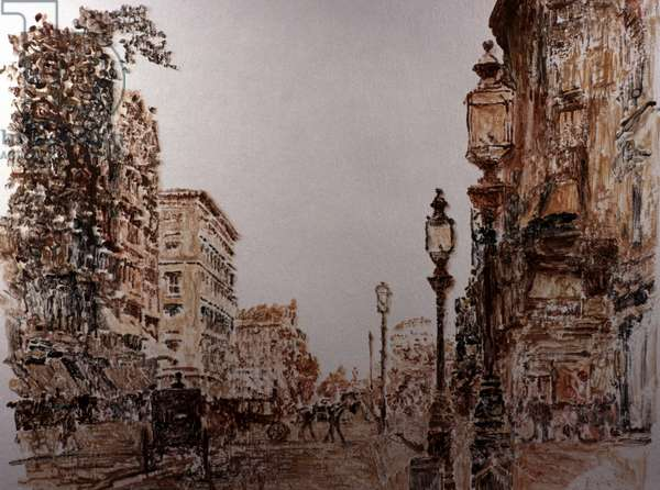 NYC, 5th Ave. 1890Õs 1988 Anthony Butera (b.20th C.) Watercolor