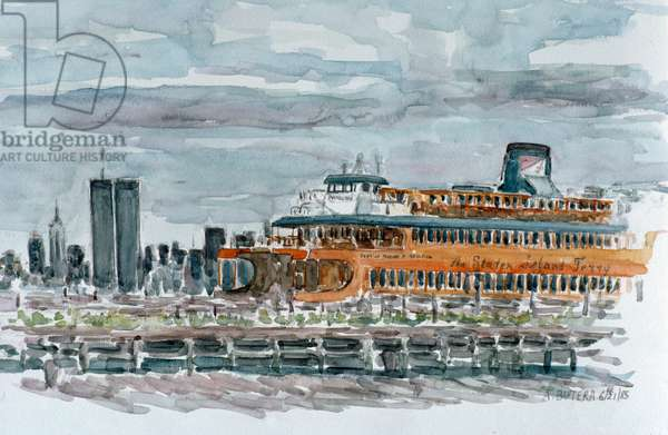 Ferry with World Trade Center in the Background, Anthony Butera, (b.20th C.), Watercolor