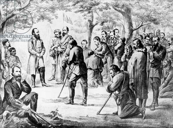 Stonewall Jackson Leading Civil War Soldiers in a Prayer Before Battle Artist Unknown