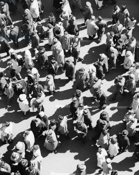 High angle view of a large group of people walking