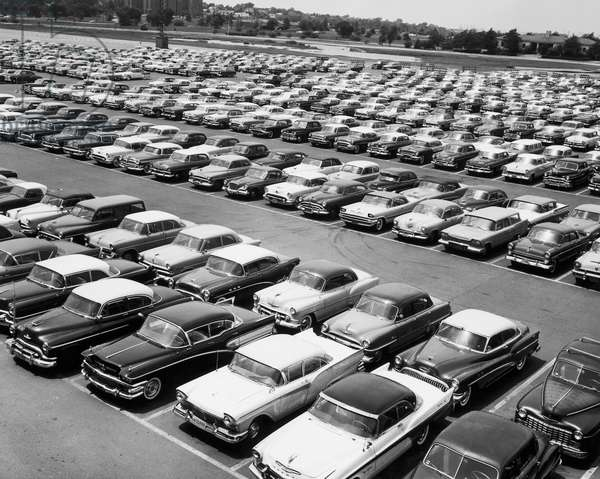 High angle view of cars parked in a parking lot