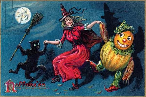 Hallowe'en postcard (colour litho)