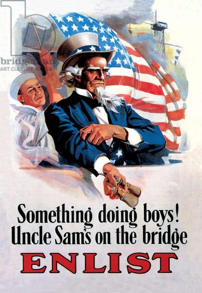 Something's Doing Boys! Uncle Sam's at the Bridge, Uncle Sam