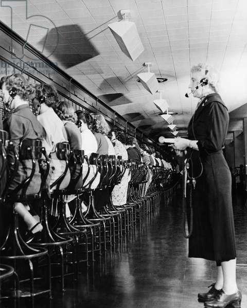 Telephone operators operating switchboards, The Pentagon, Washington DC, USA
