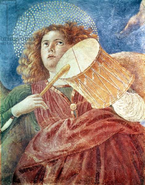 Musical Angel with Drum (fresco)