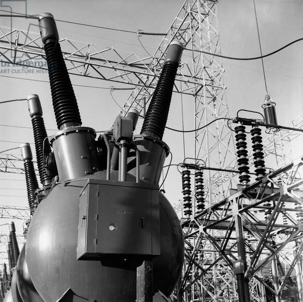 Transformers and power cables at a power station