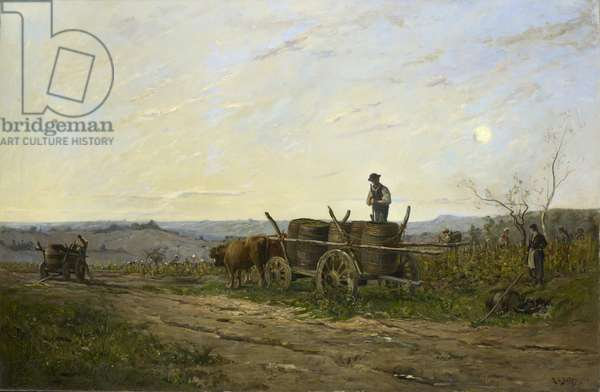 Harvesting in the morning, 1876 (oil on canvas)