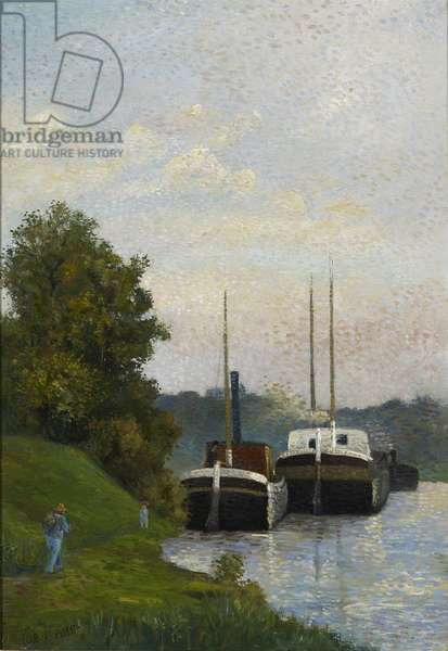 Barges on the Seine (oil on canvas)