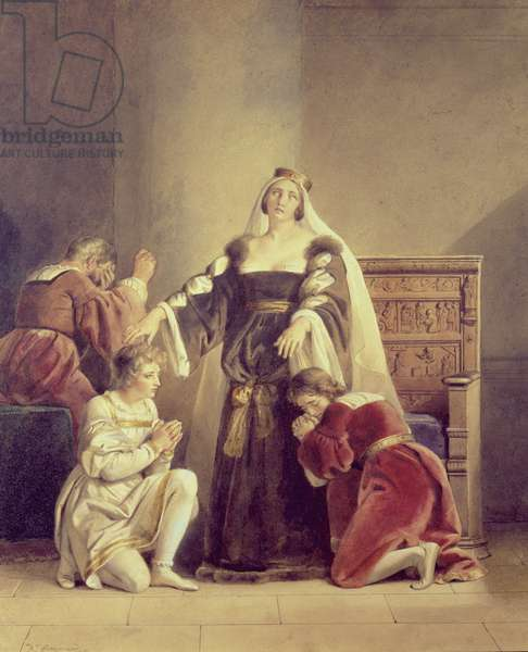 Queen Elizabeth Bidding Farewell to Her Sons, 19th century (oil on canvas)
