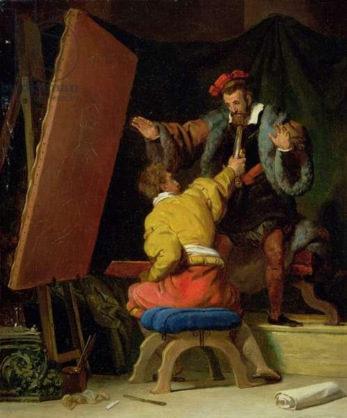 Aretino in the Studio of Tintoretto, 19th century (oil on canvas)