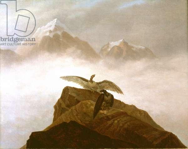 Eagles Landing on an Alpine Peak (oil on canvas)
