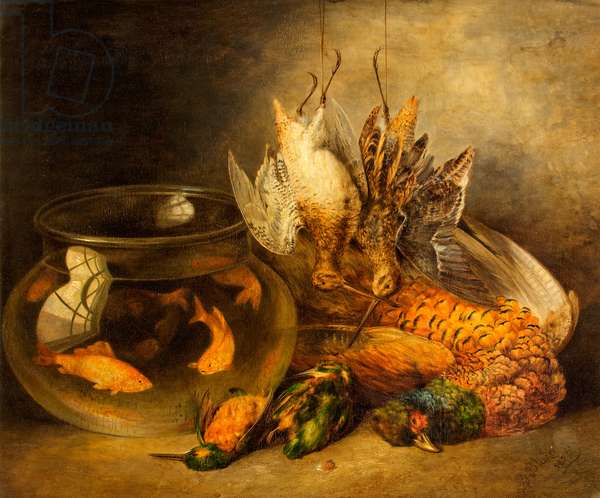 Still Life, Game and Hanging Snipe with Goldfish in a Bowl (Dead Game) (oil on board)