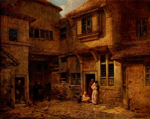 The Yard of the 'Old George Inn', Salisbury, Wiltshire, 1838 (oil on board)