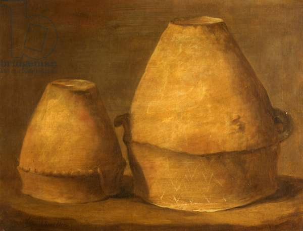 Two Bronze Age Urns, Excavated from Barrows at Winterslow, Wiltshire, 1814 (oil on canvas)