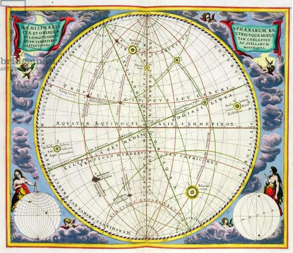Map Charting the Movement of the Earth and Planets, from 'The Celestial Atlas, or The Harmony of the Universe' (Atlas coelestis seu harmonia macrocosmica) pub. by Joannes Janssonius, Amsterdam, 1660-61 (hand coloured engraving)