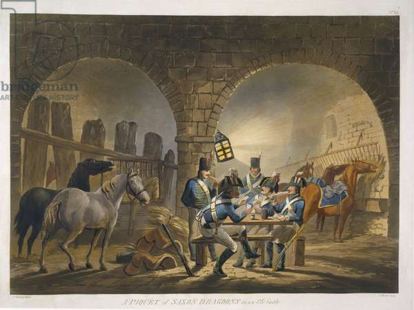 A Piquet of Saxon Dragoons in an Old Castle, from 'Military Evolutions', pub. Ackermann, London, 1799-1802 (colour litho)