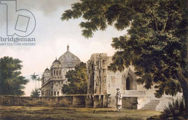Pl. 18 A view of the Mosque at Mounheer, from the South East, from 'Select Views in India', pub. 1780-83 (coloured etching with aquatint)