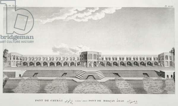 Bridge of Shiraz, Isfahan, from 'Voyages du Chevelier Chardin en Perse, et en autres Lieux d'Orient', by Jean Chardin (1643-1713), published 1811 (engraving)