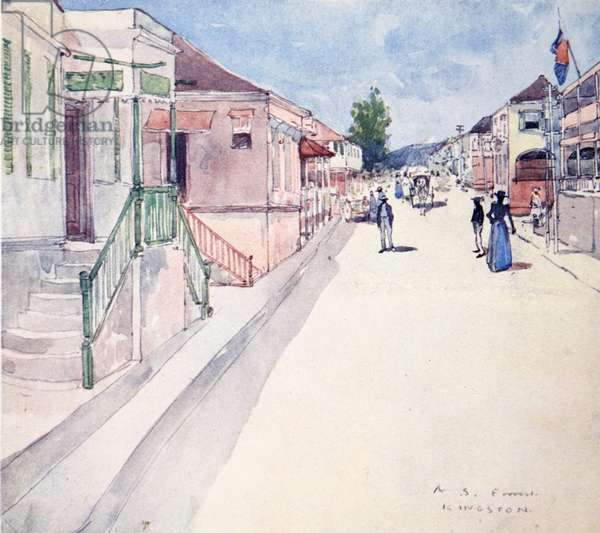 A Street In Kingston, Jamaica, from a portfolio of privately printed watercolours of 'The West Indies' (colour litho)