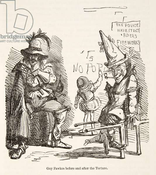 Guy Fawkes before and after the Torture, from The Comic History of England, pub. 1864 (etching)