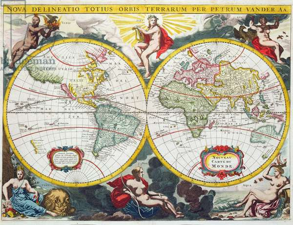 World Map, early 18th century (coloured engraving)