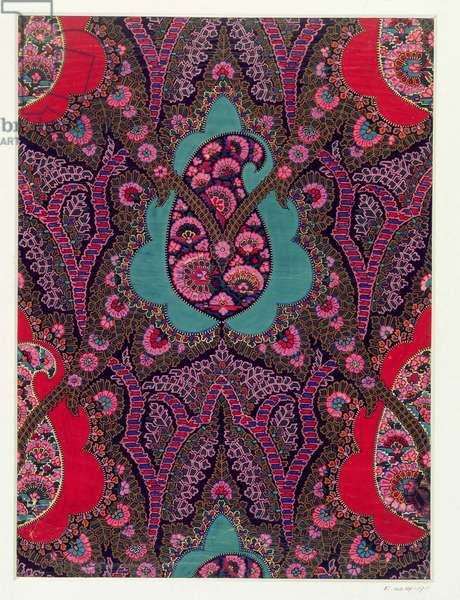 Fabric Design for Paisley Shawls, c.1871 (gouache on paper)