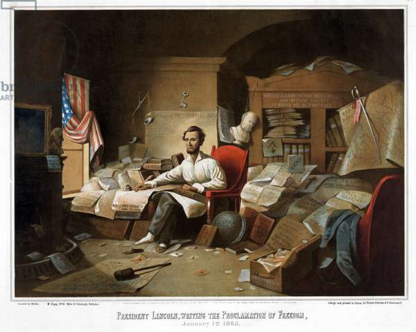 President Lincoln, writing the Proclamation of Freedom, January 1st, 1863, pub. 1864 (colour litho)