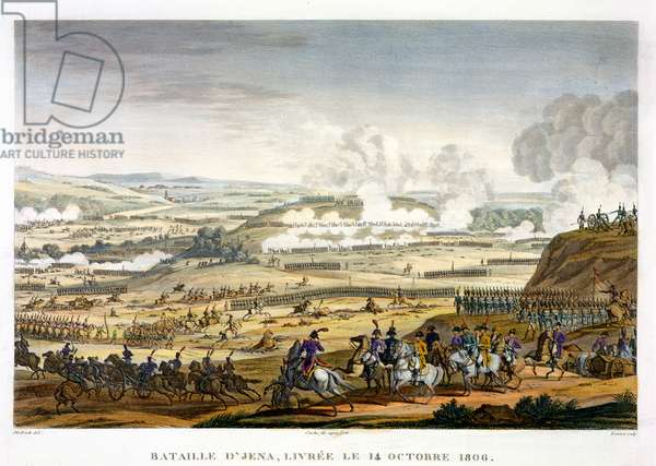 The Battle of Jena, 14 October 1806, engraved by Edme Bovinet (1767-1832) (aquatint)