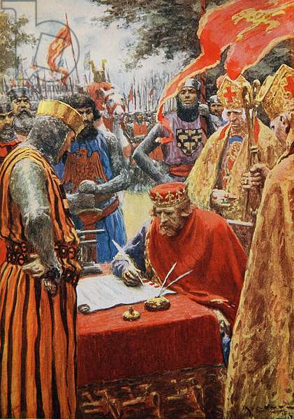 King John signing the Magna Carta reluctantly (colour litho)