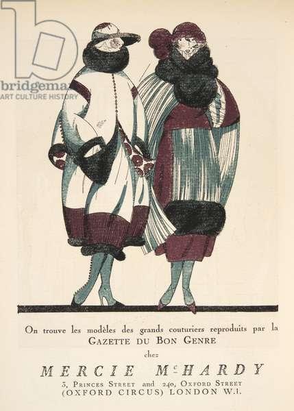 "Advertisement for ""Mercie McHardy"" from Gazette de Bon Ton, pub.  1920 (pochoir print)"