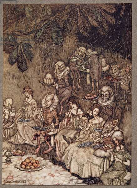 The fairies sit round on mushrooms, and at first they are well behaved, from Peter Pan in Kensington Gardens by J M Barrie (1860 - 1937), pub. 1906 (colour litho)