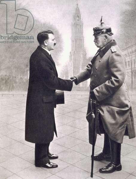 Adolf Hitler (1889-1945) shaking hands with President von Hindenburg (1847-1934) in 1933, from 'Deutsche Gedenkhalle: Das Neue Deutschland' compiled by General Von Eisenhart Rothe, 1939 (photogravure)
