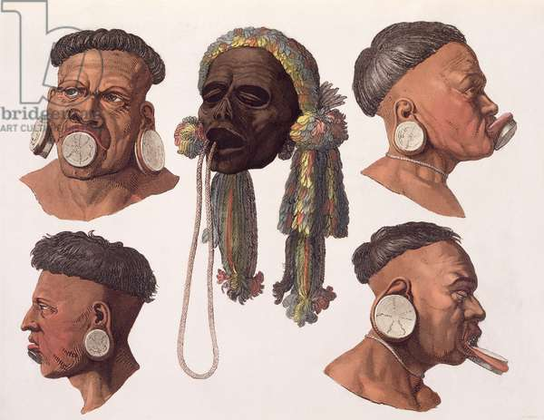 Heads of Botocudos Indians (colour engraving)