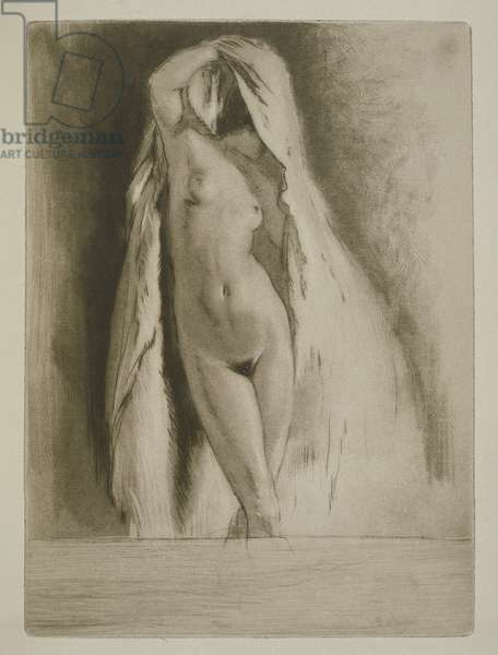 A woman draped in a sheet, illustration for 'Mitsou' by Sidonie-Gabrielle Colette (1873-1954) published 1930 (etching & drypoint)