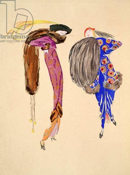 Design for day dress, 1912, Plate 1, illustration from 'Robes et Femmes', pub. Dorbon-Ainé, Paris, 1913 (pochoir print)